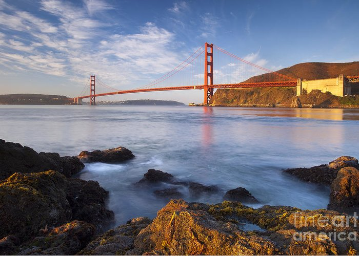 Golden Gate Greeting Card featuring the photograph Golden Gate At Dawn by Brian Jannsen