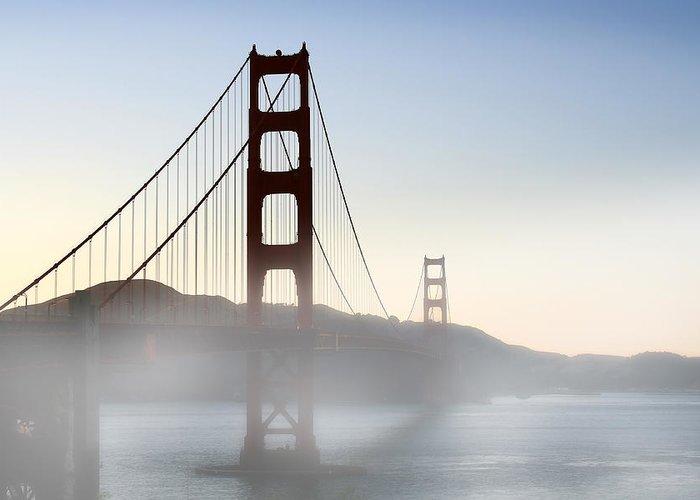 Ca Greeting Card featuring the photograph Golden Gate Bridge In Fog by Joe Myeress