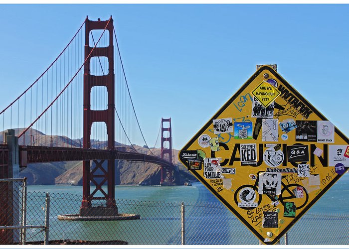 Sf Greeting Card featuring the photograph Golden Gate Stickers by Cedric Darrigrand