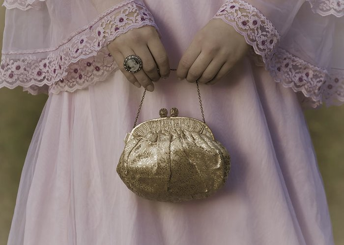 Woman Greeting Card featuring the photograph Golden Handbag by Joana Kruse