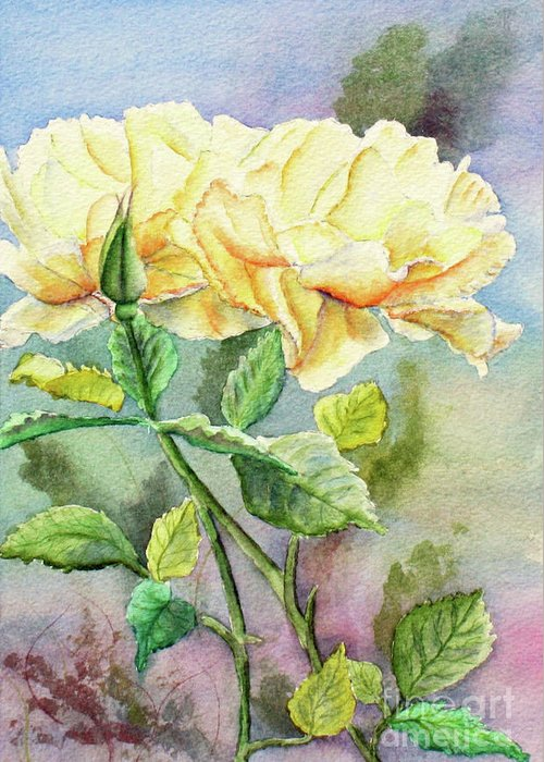 Yellow Roses Greeting Card featuring the painting Golden Ladies by Kathryn Duncan