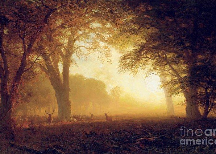Albert Greeting Card featuring the painting Golden Light Of California by Albert Bierstadt