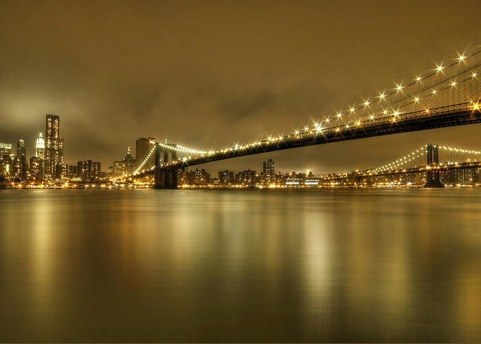 Manhattan Greeting Card featuring the photograph Golden Night by Evelina Kremsdorf