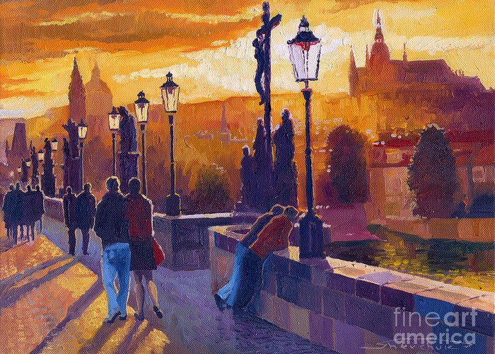 Oil On Canvas Greeting Card featuring the painting Golden Prague Charles Bridge Sunset by Yuriy Shevchuk