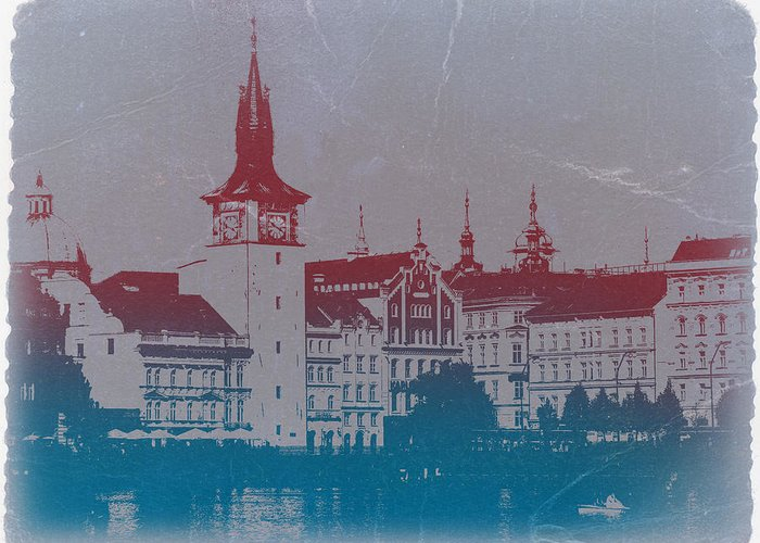 Prague Greeting Card featuring the photograph Golden Prague by Naxart Studio