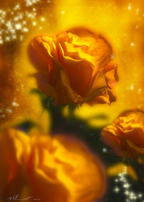 Anniversary Greeting Card featuring the photograph Golden Roses by Svetlana Sewell