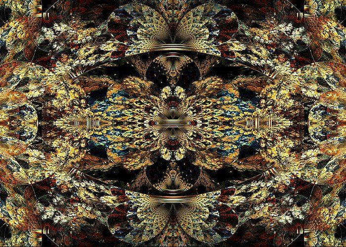 Abstract Greeting Card featuring the digital art Golden Split Crop by Peggi Wolfe
