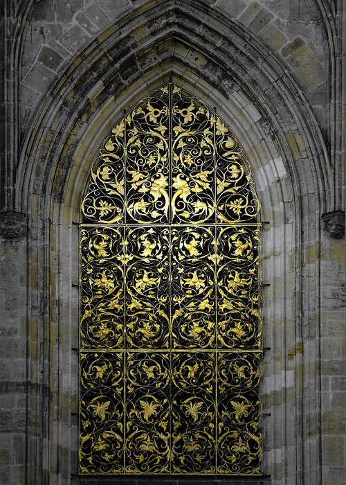 Vitus Greeting Card featuring the photograph Golden Window - St Vitus Cathedral Prague by Christine Till