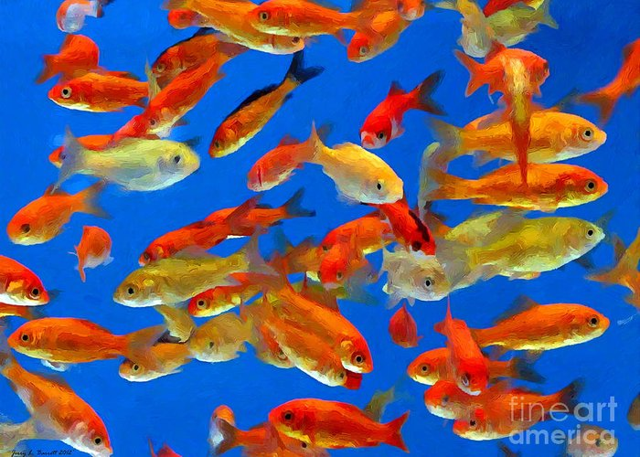 Fish Greeting Card featuring the mixed media Goldfish by Jerry L Barrett
