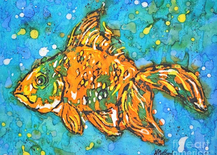 Painting Greeting Card featuring the painting Goldfish by Norma Gafford