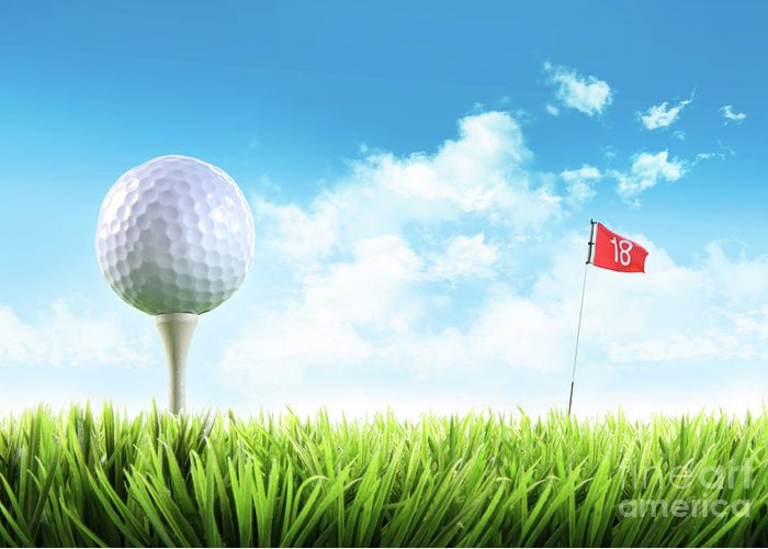 Active Greeting Card featuring the photograph Golf Ball With Tee In The Grass by Sandra Cunningham