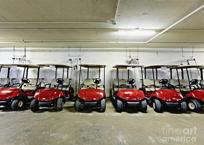 Basement Greeting Card featuring the photograph Golf Cart Parking Garage by Skip Nall