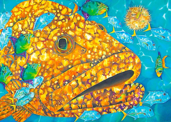 Grouper Painting Greeting Card featuring the painting Goliath by Daniel Jean-Baptiste