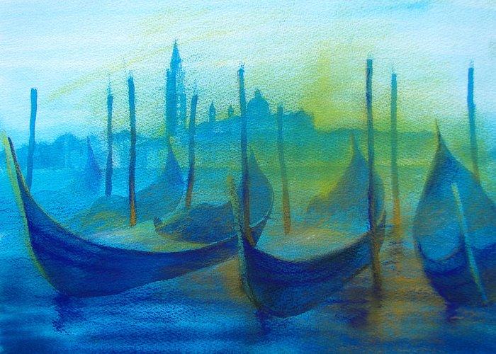 Gondolas Greeting Card featuring the pastel Gondolas by Khromykh Natalia