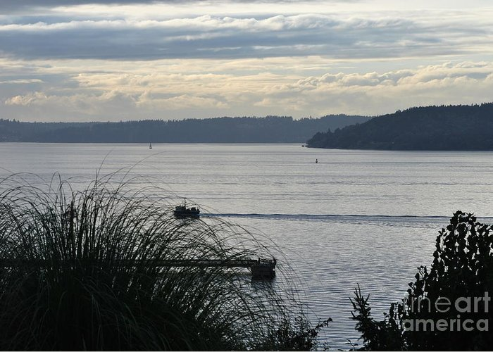 Puget Sound Greeting Card featuring the photograph Gone Fishing by Paulina Roybal