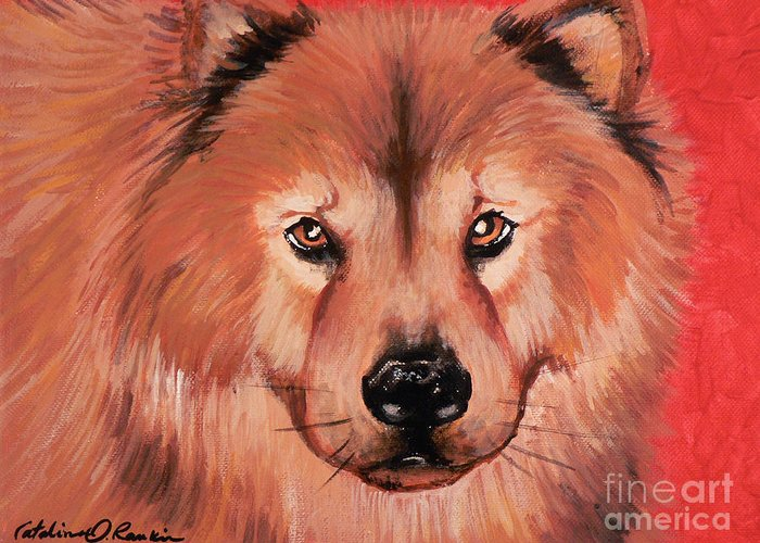 Dog Greeting Card featuring the painting Good Dog by Catalina Rankin