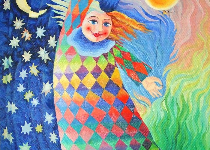 Clown Greeting Card featuring the painting Good Morning by Asya Ostrovsky