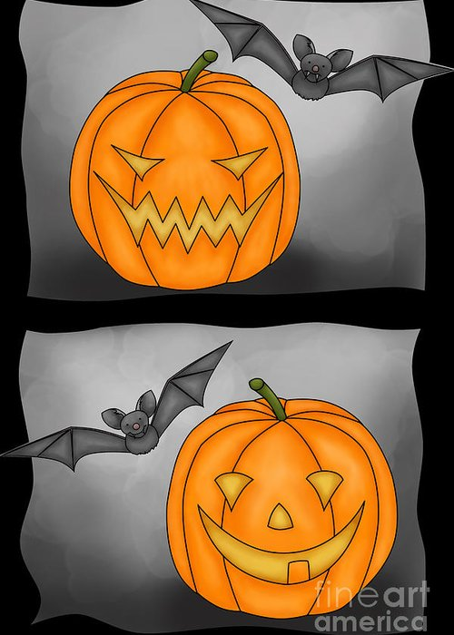 Pumkin Greeting Card featuring the digital art Good Pumpkin - Bad Pumpkin by Claudia Pflicke