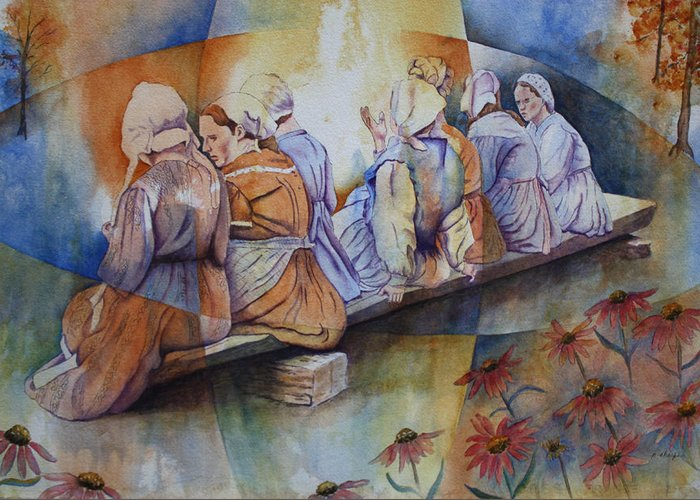 Costumed Figures In Landscape Greeting Card featuring the painting Gossip Bench by Patsy Sharpe