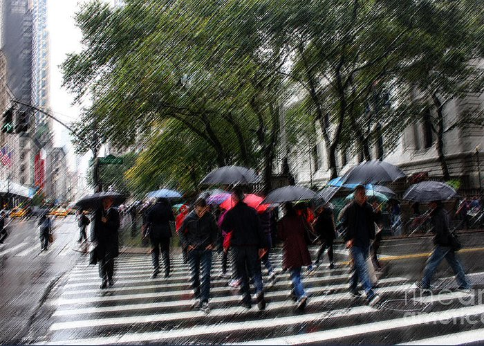New York Greeting Card featuring the photograph Gotham Rainy Day by David Bearden