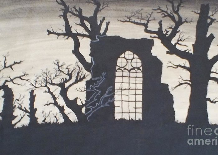 Gothic Greeting Card featuring the drawing Gothic Landscape by Silvie Kendall
