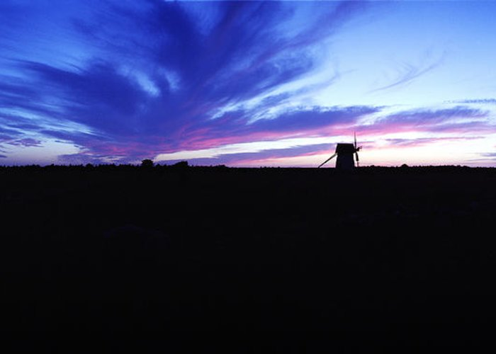 Sunset Greeting Card featuring the photograph Gotland Windmill Midsummer by Jan W Faul