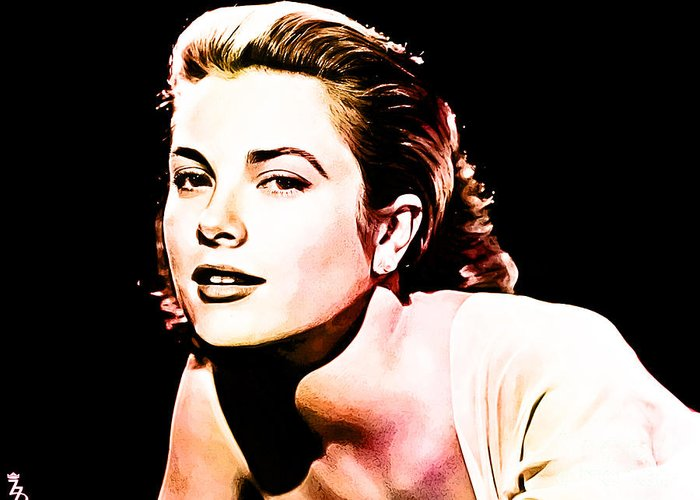 Grace Kelly Greeting Card featuring the digital art Grace Kelly by The DigArtisT