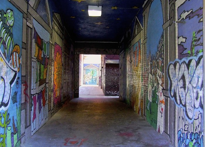 Facades Greeting Card featuring the photograph Graffiti Walkway by Richard Gregurich