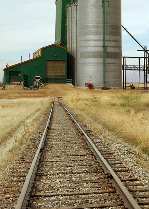 Rail Greeting Card featuring the photograph Grain Silos And Railway Track by Tony Craddock
