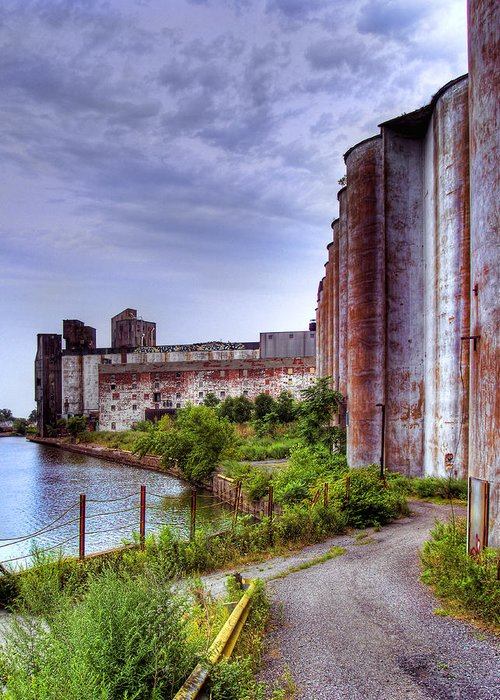 Grain Silo Greeting Card featuring the photograph Grain Silos In Summer by Tammy Wetzel