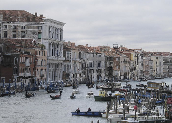 Gondolas Greeting Card featuring the pyrography Gran Canal. Venice by Bernard Jaubert