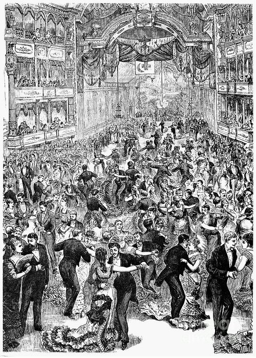 1877 Greeting Card featuring the photograph Grand Ball, New York, 1877 by Granger
