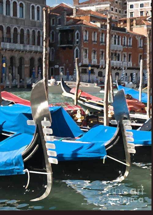 Sea Greeting Card featuring the photograph Grand Canal Gondolas Painting by Jim Chamberlain