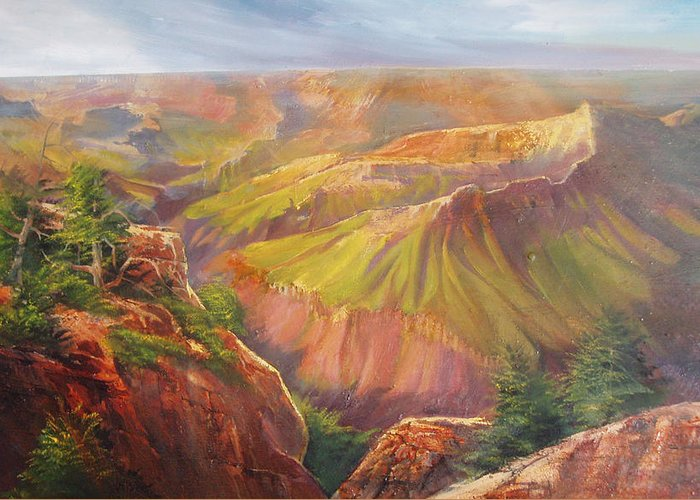 Grand Canyon Greeting Card featuring the painting Grand Canyon by Robert Carver