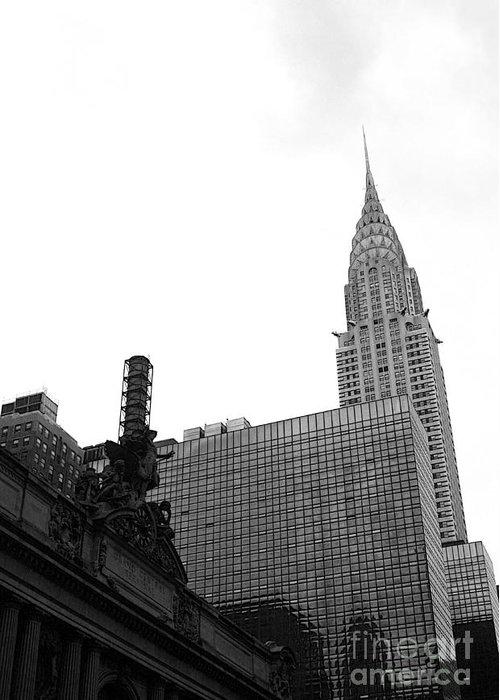 Grand Central Station Greeting Card featuring the photograph Grand Central-grand Hyatt-chrysler by David Bearden