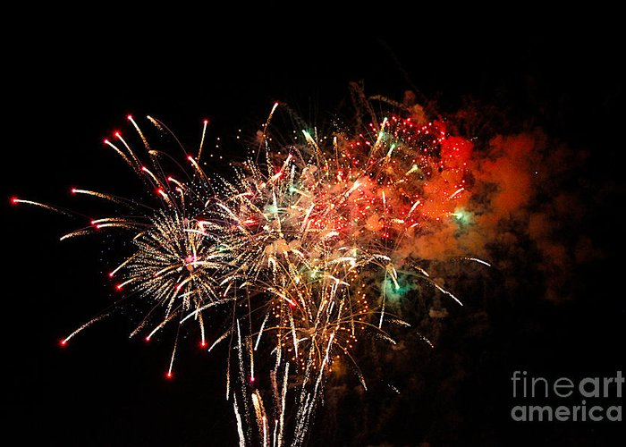 Fire Works Greeting Card featuring the photograph Grand Haven Mi Fireworks by Robert Pearson