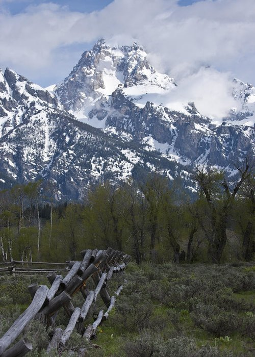 Grand Tetons Greeting Card featuring the photograph Grand Teton Fence by Charles Warren