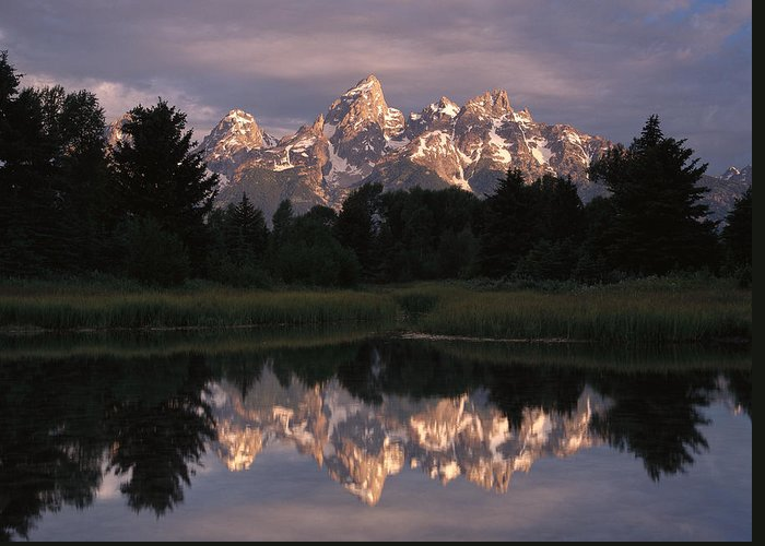 00173316 Greeting Card featuring the photograph Grand Teton Range And Cloudy Sky by Tim Fitzharris