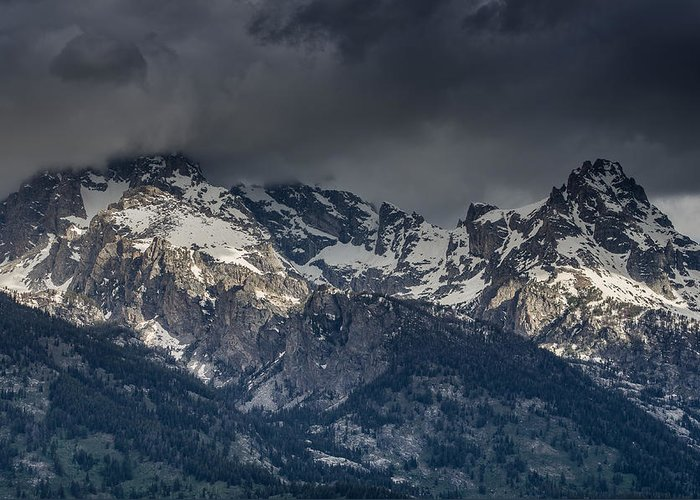Grand Tetons National Park Greeting Card featuring the photograph Grand Tetons Immersed In Clouds by Greg Nyquist