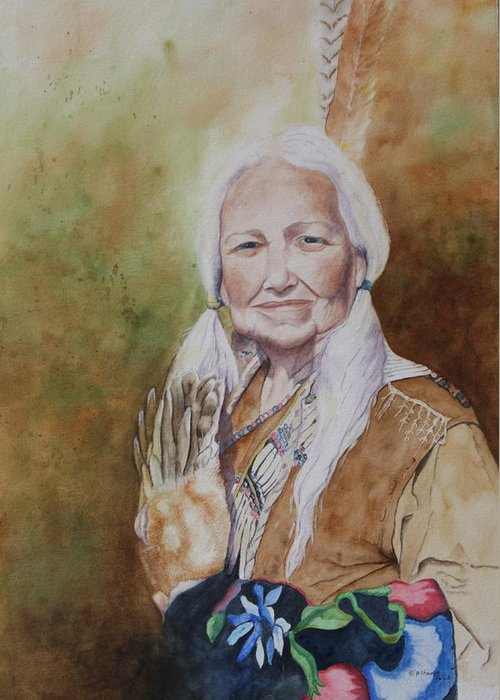 Native American Spirit Portrait Greeting Card featuring the painting Grandmother Many Horses by Patsy Sharpe