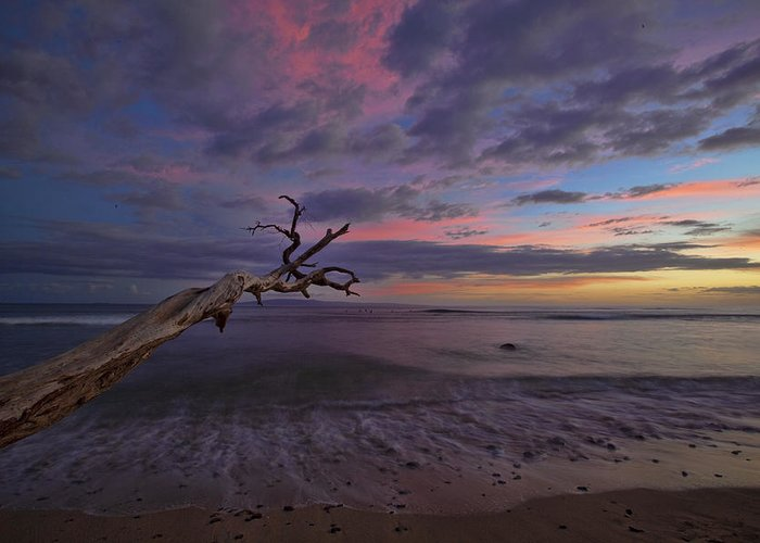 Maui Hawaii Grandpas Ebb Flow Sunset Colorful Seashore Greeting Card featuring the photograph Grandpa's by James Roemmling