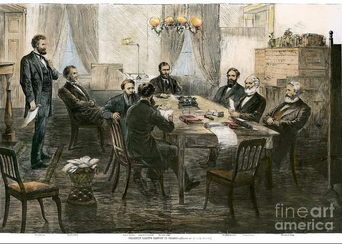 1869 Greeting Card featuring the photograph Grants Cabinet, 1869 by Granger