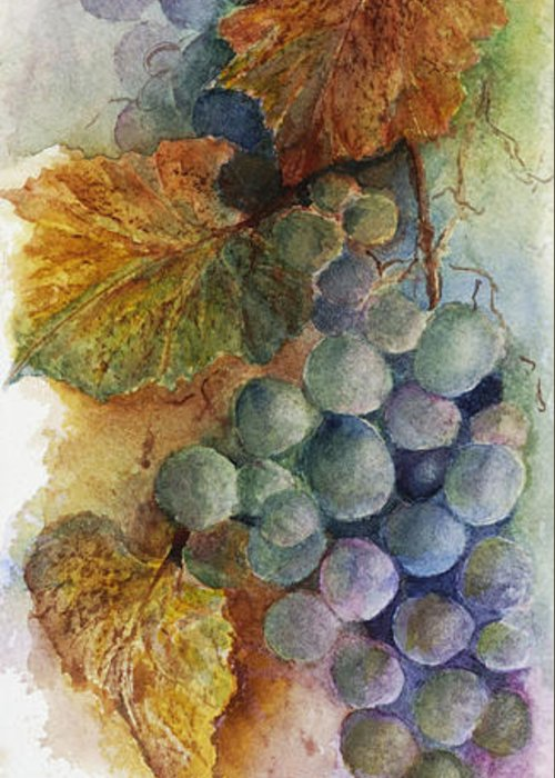 Artful Greeting Card featuring the painting Grapes Iv by Judy Dodds