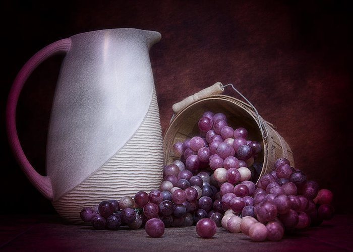Art Greeting Card featuring the photograph Grapes With Pitcher Still Life by Tom Mc Nemar