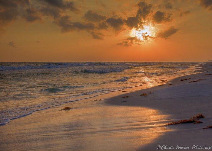 Sunset Greeting Card featuring the photograph Grayton Beach Sunset 7 by Charles Warren