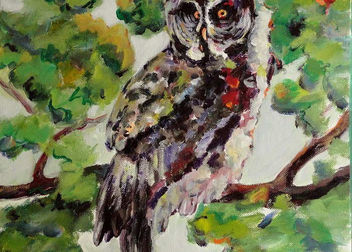 Owl Greeting Card featuring the painting Great Gray Owl III by Naomi Gerrard
