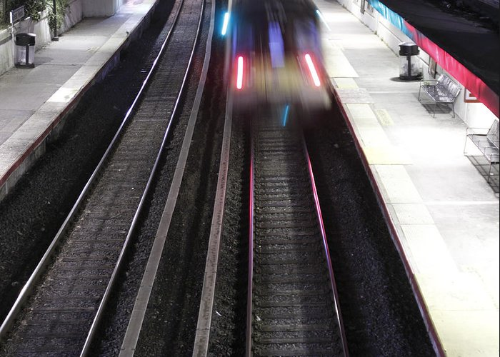 Looking Greeting Card featuring the photograph Great Neck Train Station by Stephen Walker