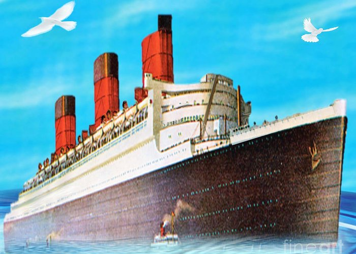 Ship Greeting Card featuring the painting Great Ocean Liner by Belinda Threeths
