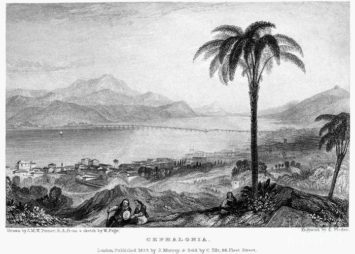 1833 Greeting Card featuring the photograph Greece: Kefalonia, 1833 by Granger