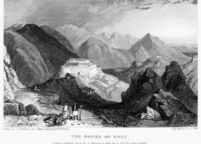 1833 Greeting Card featuring the photograph Greece: Souli, 1833 by Granger